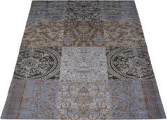 Grijze Veercarpets Vloerkleed Lemon - 70 x 140 cm - Grey - Patchwork