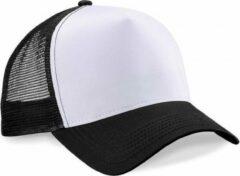 Beechfield Truckers cap zwart/wit voor volwassenen