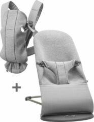 Licht-grijze BabyBjörn BABYBJÖRN Startkit - Wipstoeltje Bliss Lichtgrijs 3D Jersey en Draagzak Mini Lichtgrijs 3D Jersey