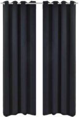 Zwarte VidaXL Blackout gordijnen met metalen ringen 135 x 245 cm 2 stuks (zwart)