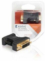 VGA - DVI adapter VGA male - DVI-I female 1 stuk grijs - König