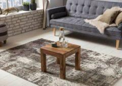 Wohnling Couchtisch Massiv-Holz Sheesham 45 cm breit Wohnzimmer-Tisch Design dunkel-braun Landhaus-Stil Beistelltisch Natur-Produkt Wohnzimmermöbel Un