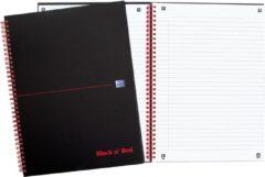 Zwarte Oxford BLACK N' RED spiraalblok karton 140 bladzijden formaat A4 gelijnd