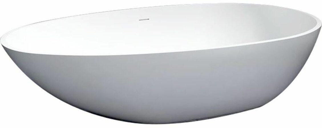 Afbeelding van Douche Concurrent Ligbad Vrijstaand Solid Ovaal 90x180x60cm Solid Surface Mat Wit met Badwaste en Overloop