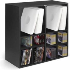 Zomo LP vinyl kast meubel multifunctioneel uit te breiden voor opslag Vinyl + CD + DVD (zwart)