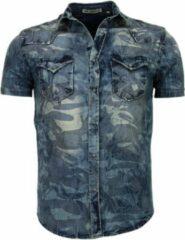 Enos Denim Heren Overhemd - Korte Mouwen - Leger Motief - Blauw Casual overhemden heren Heren Overhemd Maat M