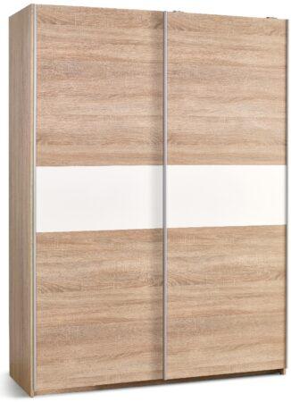 Afbeelding van Home Style Kledingkast Lima 153 cm breed in sonoma eiken met hoogglans wit