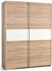 Home Style Kledingkast Lima 153 cm breed in sonoma eiken met hoogglans wit