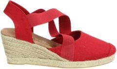 Nelson dames sandaal op sleehak - Rood - Maat 37