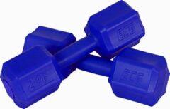 Blauwe ECG Spor Dumbbell set van 2 x 2 KG - Dumbbells Gewichten - Set van 2 Dumbells