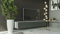 VIGO I Zwevend TV Meubel - TV Meubel Wit / Grafiet - TV Kast Meubel - Modern Design - 30x180x40 cm