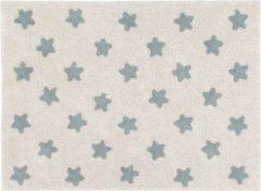 Beige Lorena Canals - Vloerkleed Stars - Natural Vintage Blue - 120 x 160 cm