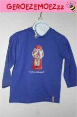 Merkloos / Sans marque Longsleeve shirt kobaltblauw met snoeppot maat 80