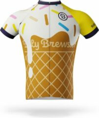 Gele Billy Brewster - Ice Cone with Sprinkles wielershirt - Fietsshirt Heren - maat S