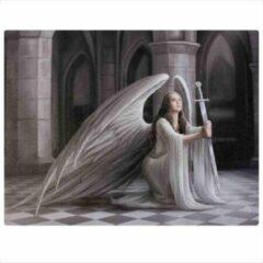 Grijze Anne Stokes canvas wanddecoratie The Blessing, fantasie afbeelding van een zittende vrouwelijke engel met een zwaard in haar handen