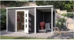 Weka tuinhuis met overkapping 413 Type A GR2 antraciet 300x450cm