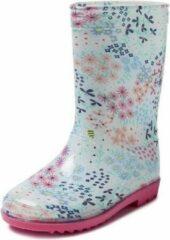 Merkloos / Sans marque Blauwe kleuter/kinder regenlaarzen gekleurde bloemetjes - Rubberen bloemenprint laarzen/regenlaarsjes voor kinderen 27