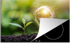 KitchenYeah Luxe inductie beschermer Gloeilampen - 78x52 cm - Gloeilamp en een plant in de modder - afdekplaat voor kookplaat - 3mm dik inductie bescherming