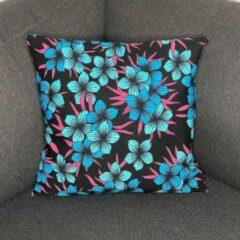 Afabs Afrikaans kussen   Blauwe bloemen - Sierkussen 45x45 - 100% Katoen   Sierkussens 45x45 Kussenhoes   Binnenkussen 45 x 45   Tribal kussen   African pillow