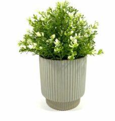 Lucy's Living Lucy's Living Luxe Bloempot STRIPE groen – ø 14 x 14 cm - groen - binnen – buiten – luxe – accessoires – tuin – decoratie – bloemen - aardewerk - planten - plantenhouder