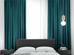 Home of Curtains ELSA - Gordijn - Met Plooiband - Verduisterend - Kant en Klaar - 288x180 cm - Oudhollands Groen - 1 Stuk