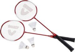 Donnay badmintonset rood met rackets shuttles en opbergtas 67 cm - voordelige badminton set