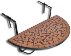 Bruine Vidaxl balkontafel hangend mozaïek terracotta half-rond