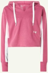Roze Under Armour Rival cropped trainingshoodie met logoborduring