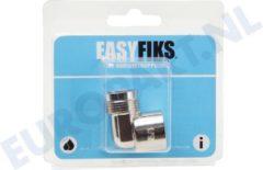 Roestvrijstalen EasyFiks Gas Aansluitingkoppeling - 1/2 knie haaks - Chroom