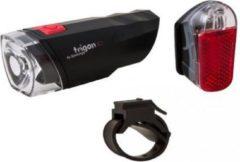 Zwarte XLC verlichtingsset Trigon led batterij inclusief bevestiging