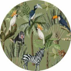 Made on Friday - Behangcirkel Tropical Jungle groen 80x80cm - Zelfklevend behang met matte textiel uitstraling
