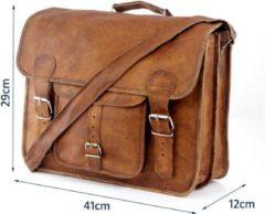 """Merkloos / Sans marque Aktetas 15,6 inch """"Granada"""" – Cognac Bruin Echt Leer Businesstas - Unisex Vintage Look Boekentas - Handgemaakt"""