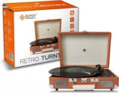 Bruine DUTCH ORIGINALS Retro Draaitafel, met geïntegreerde luidsprekers, Vintage Vinyl speler voor grammofoonplaten en audioapparatuur, AUX, 2 versterkers