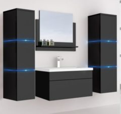 Home Deluxe Wangerooge Badmöbel-Set schwarz, ca. 121 cm breit mit Seitenschrank und Spiegel (Gr. XL)