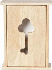 Bruine Houten sleutelkast/sleutelkluis naturel 19 x 26 cm - Sleutels opbergen - Sleutelkastje van hout