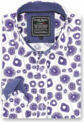 Gentile Bellini Heren Overhemd - Slim Fit - Jellyfish Ocean - Wit - Maat L