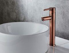 Saniclear Copper hoge wastafelkraan met eenhendel bediening geborsteld koper
