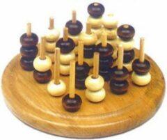 HOT Games Molenspel TicTacToe 3 D. hout blank/bruin gelakt rond