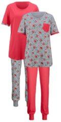 Schlafanzug Simone hummer/grau meliert/lachs