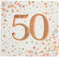 Roze Oaktree UK Servetten 50 jaar Rose Gold (16 stuks)