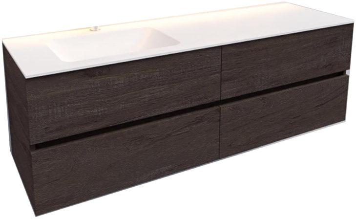 Afbeelding van Boss & Wessing Badkamermeubel Solid Surface BWS Oslo 150x46 cm Links Wood Dark Brown 4 Laden (met 1 kraangat)