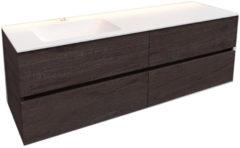 Boss & Wessing Badkamermeubel Solid Surface BWS Oslo 150x46 cm Links Wood Dark Brown 4 Laden (met 1 kraangat)