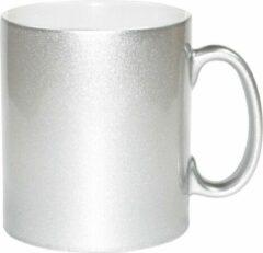 Bellatio Decorations 6x zilveren koffie/ thee mokken 330 ml - geschikt voor sublimatie drukken - Zilveren onbedrukte cadeau koffiemok/ theemok