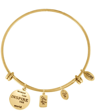 Afbeelding van Goudkleurige CO88 Collection 8CB-13007 - Stalen bangle met bedels - affirmaties, life en zen - one-size - goudkleurig