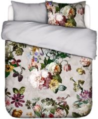 Licht-grijze Essenza Fleur dekbedovertrekset met bloemenprint 215TC - inclusief kussenslopen