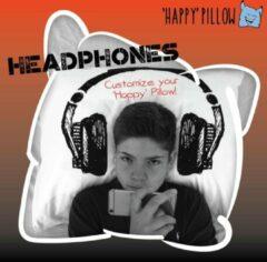 Rode Happy Pillow - Headphones kussensloop met print inclusief textielstiften (Het nieuwe gips, ziekenhuiscadeau)
