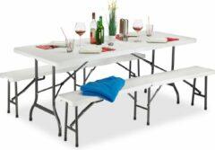 Relaxdays biertafel en banken - opvouwbaar - biertafelset - picknicktafel voor feesten wit