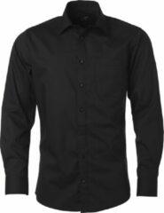 James & Nicholson James and Nicholson Heren Longsleeve Poplin Shirt (Zwart)