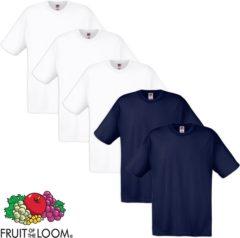 Marineblauwe Fruit of the Loom T-shirt 100% katoen 5 stuks Wit & Marineblauw Maat S
