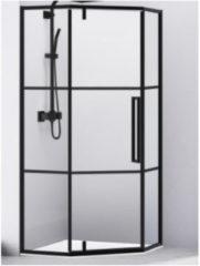 Douchecabine Van Rijn Vijfhoek Aluminium Zwart 90x200 Dubbelzijdige Nanocoating 6 mm Helder Glas